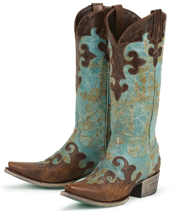 Lane Boots Women's 'Dawson' Cowboy Boots - Turquoise/ Brown | For ...