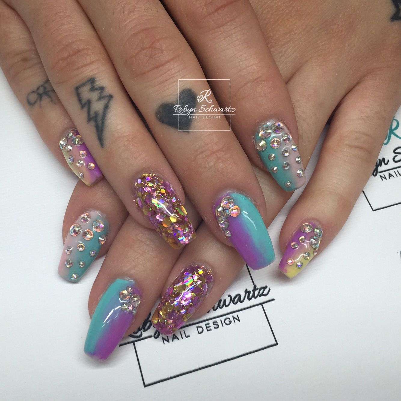 Rainbow ombré coffin gel nails with glitter and Swarovski stones ...