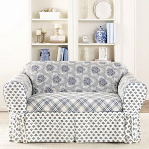 Remarkable Sure Fit Amelie Loveseat Slipcover Blue And White Theyellowbook Wood Chair Design Ideas Theyellowbookinfo