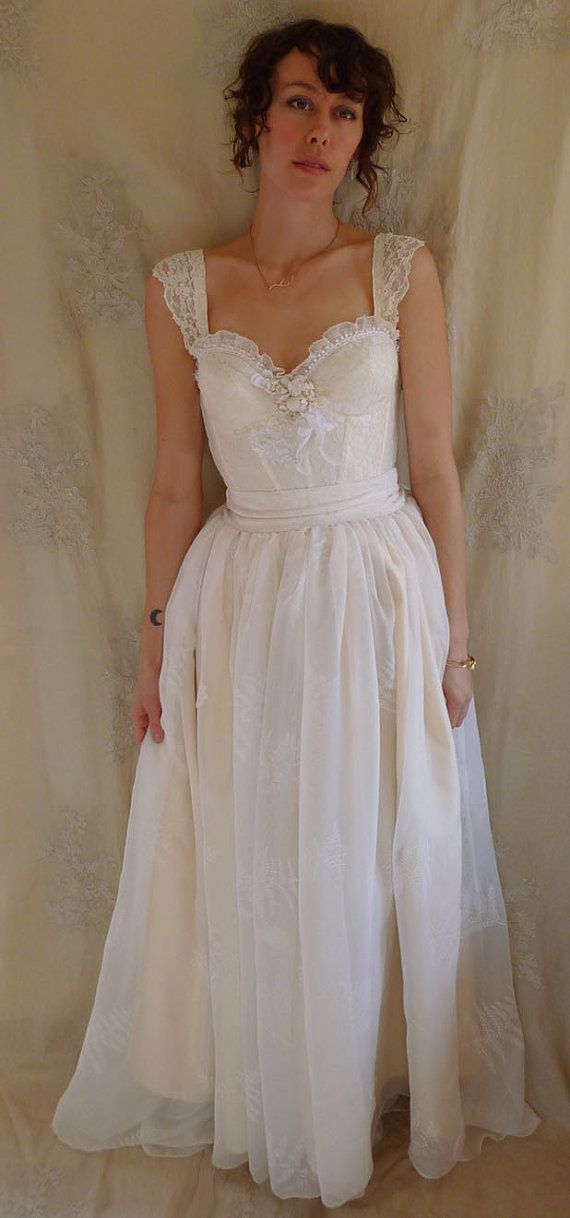RESERVED Fern Bustier Wedding Gown... whimsical by jadadreaming ...