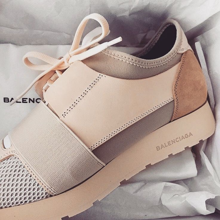 promo code af646 f5624 suede and leather balenciaga sneakers in blush.