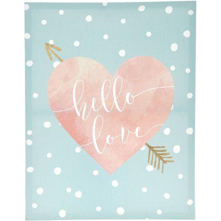 Tiny Ideas Hello Love Canvas, Mint, Pink