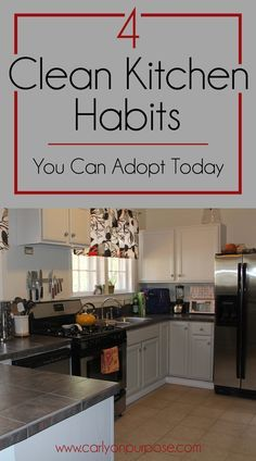 These 4 clean kitchen habits are so SIMPLE you can start doing them TODAY. Some of the best cleaning tips I've read.