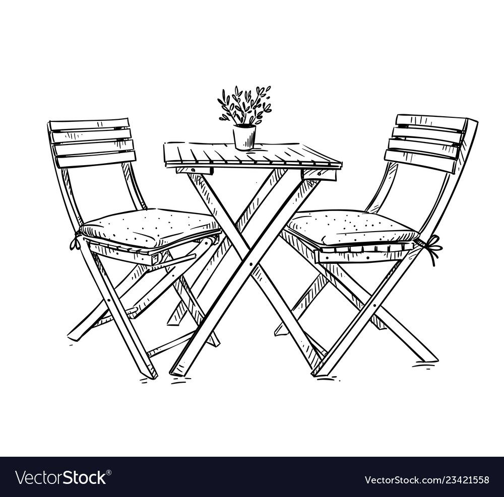 Garden Furniture Table And Two Chairs Royalty Free Vector Sponsored Table Furniture Garden Chairs In 2020 Key Drawings Interior Design Sketches Table Sketch