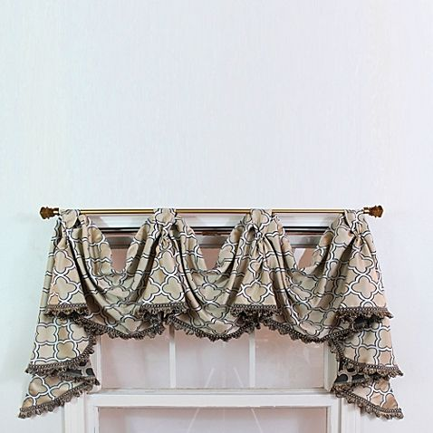 rl fisher churchill 3scoop victory window curtain swag valance in beige