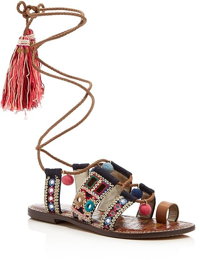 669dce40ed28 Metallic Embroidered bohemian sandals with braided leather laces. Sam  Edelman Gretchen Embellished Lace Up Sandals