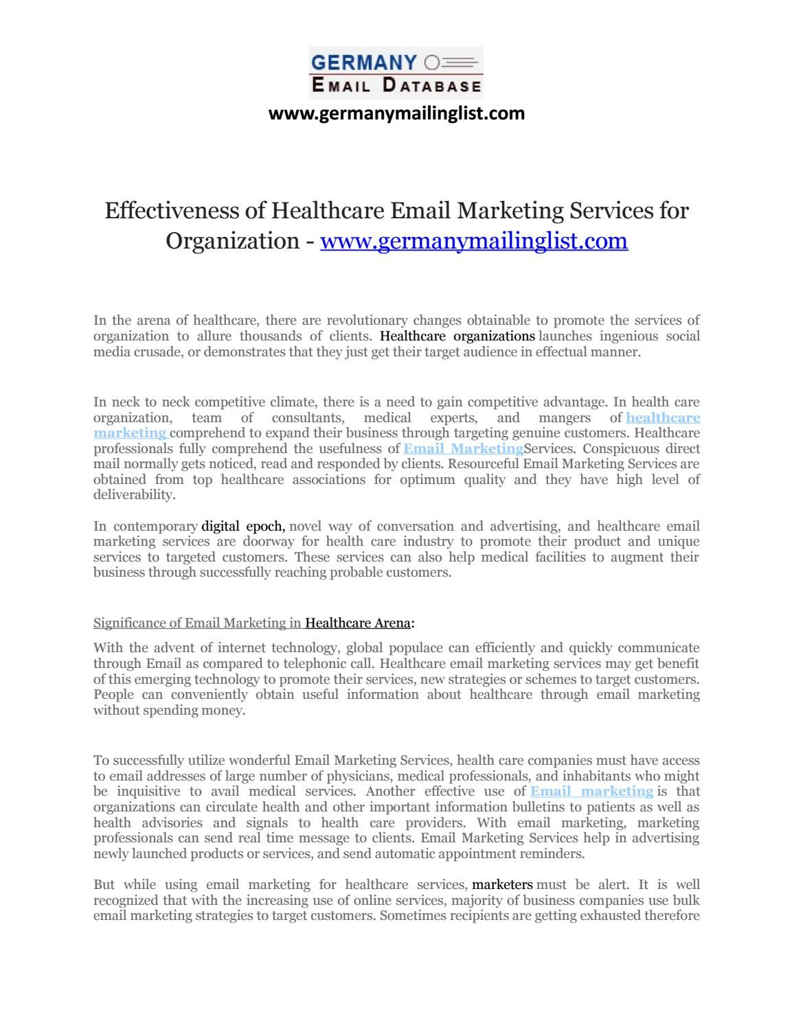 Effectiveness of Healthcare Email Marketing Services for