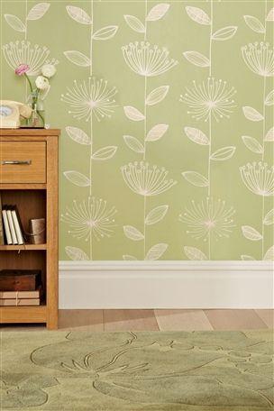 Buy Retro Flower Green Wallpaper from the Next UK online shop ...