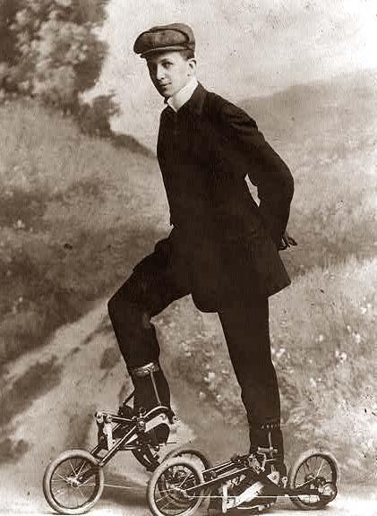 Young Man On Pedaled Rollerskates 1910 Vintage Photographs