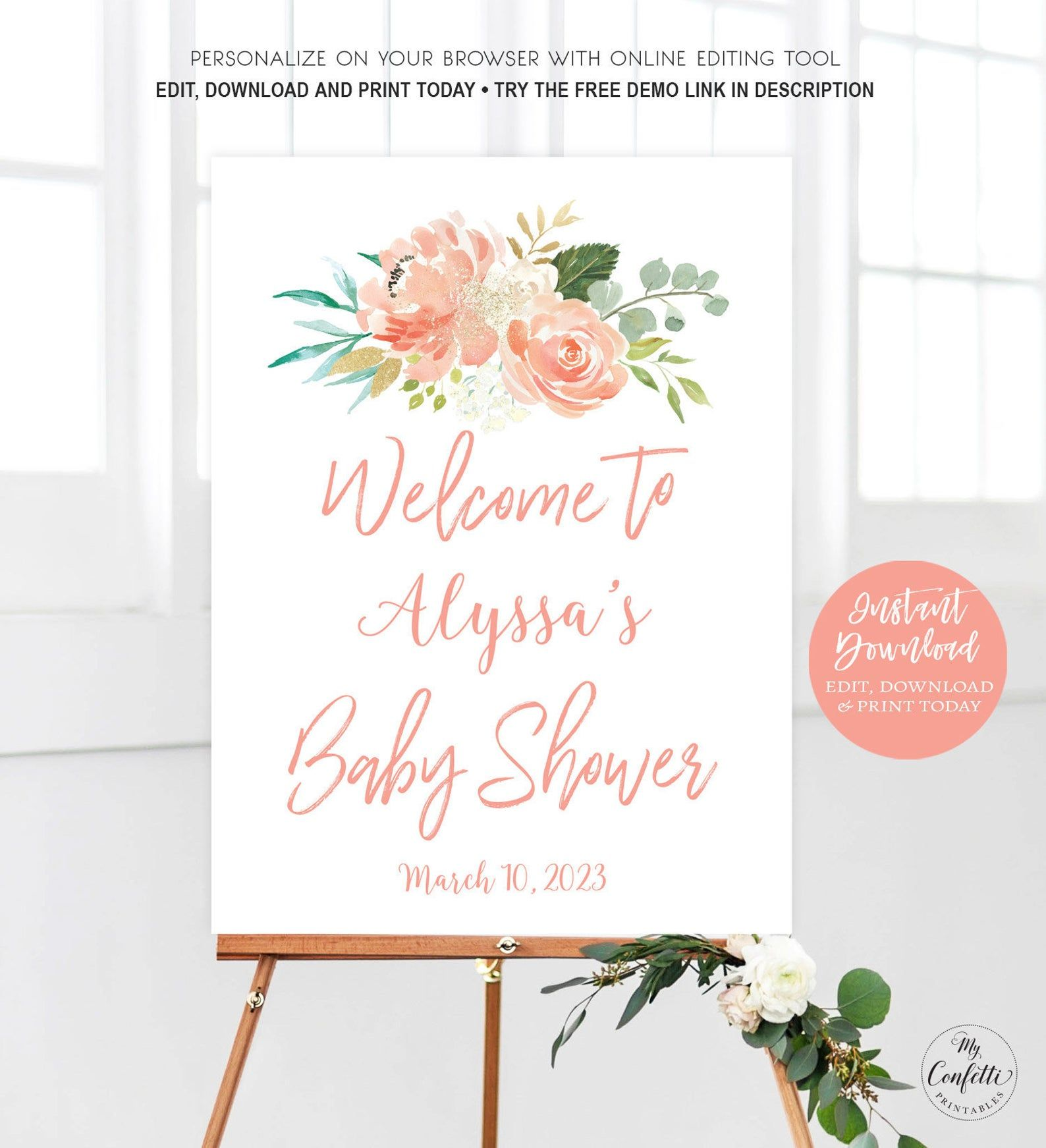 Peach Floral Baby Shower Welcome Sign Printable Large Baby Etsy In 2020 Baby Shower Welcome Sign Floral Baby Shower Baby Shower Baby shower welcome sign template