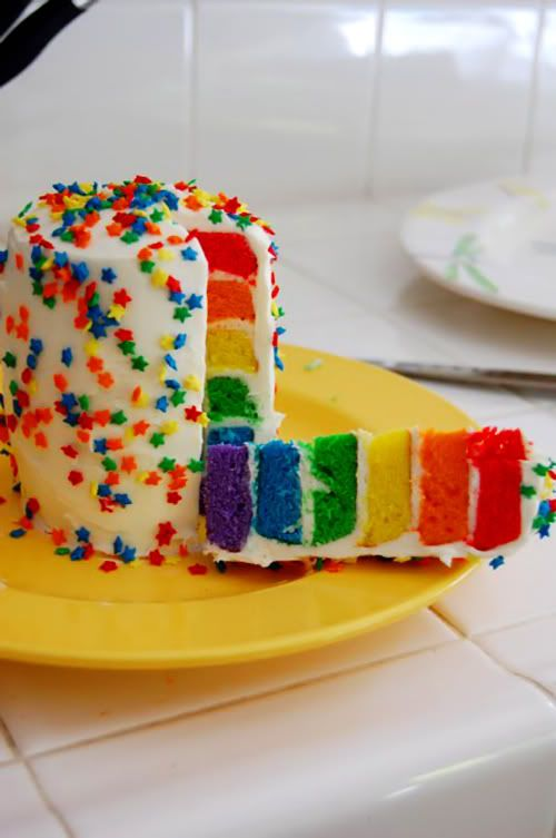 Rainbow Layered With Sprinkles On Top SO COOL