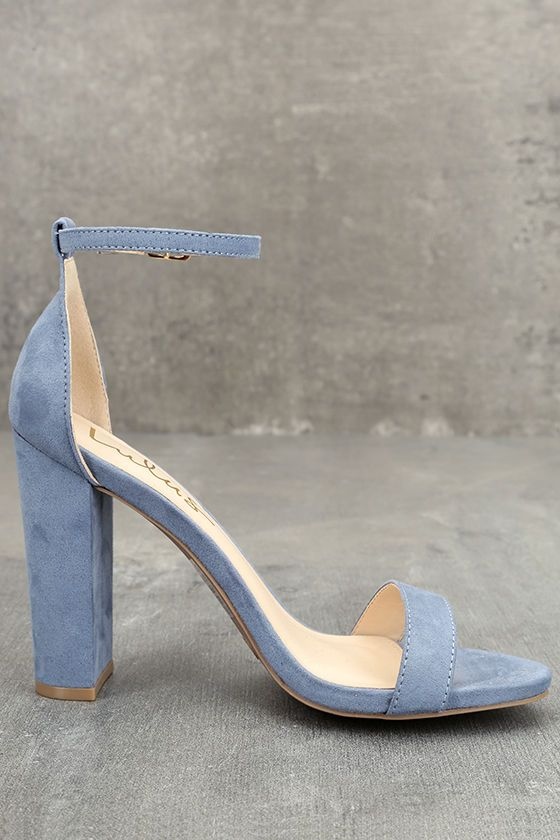 Taylor Blue Suede Ankle Strap Heels | Blue suede, Strap heels and ...