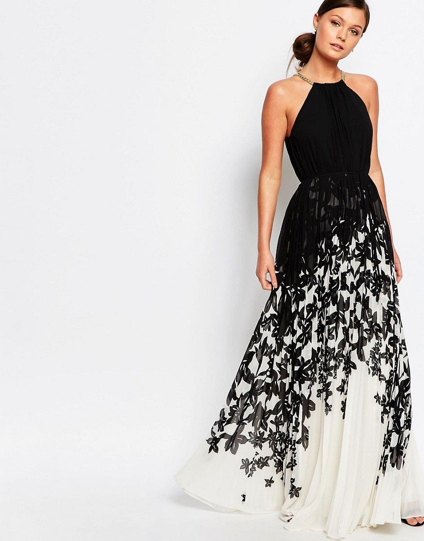 Image 1 of Ted Baker Jolena Maxi Dress in Mono Chic Floral