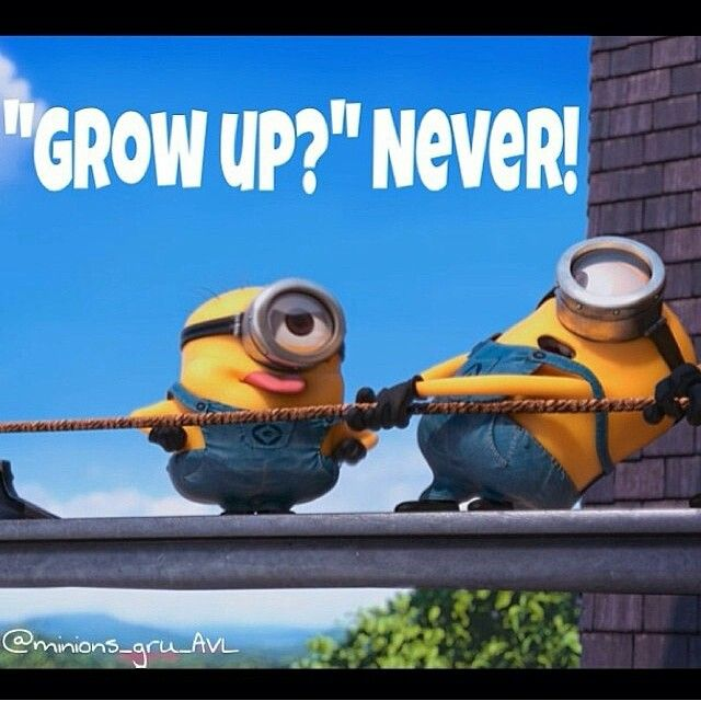 Grow up? Never! just because you grow old doesn't mean you have to grow up