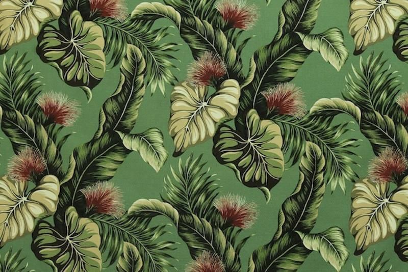 Lehua Upholstery Barkcloth Green Fabric Barkcloth Prints Tropical Paradise