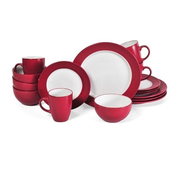 Dinnerware Set Red 16 Piece Round Plates Bowls Dishes Kitchen Service Modern #Notspecified #Casual
