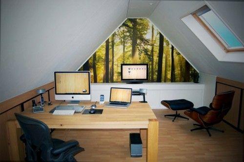 Dachgeschoss Einrichtungsideen praktisches büro im dachgeschoss weiß fenster schlicht praktisch
