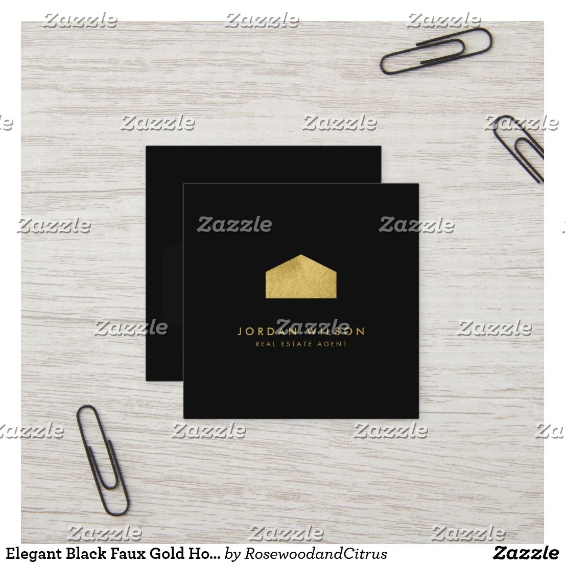 Elegant Black Faux Gold House Real Estate Business Cards Visit Carte De Visite