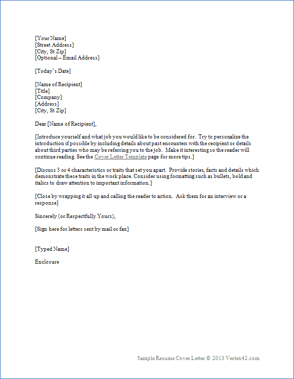 the resume cover letter template from vertex42