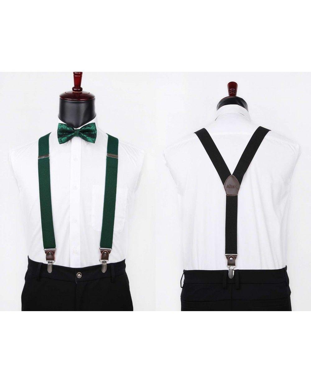 df0ae3992 Alizeal Mens Paisley Bow Tie and 3.5cm Wide 3-clip Suspenders Set 060-Dark  Green - Suspender