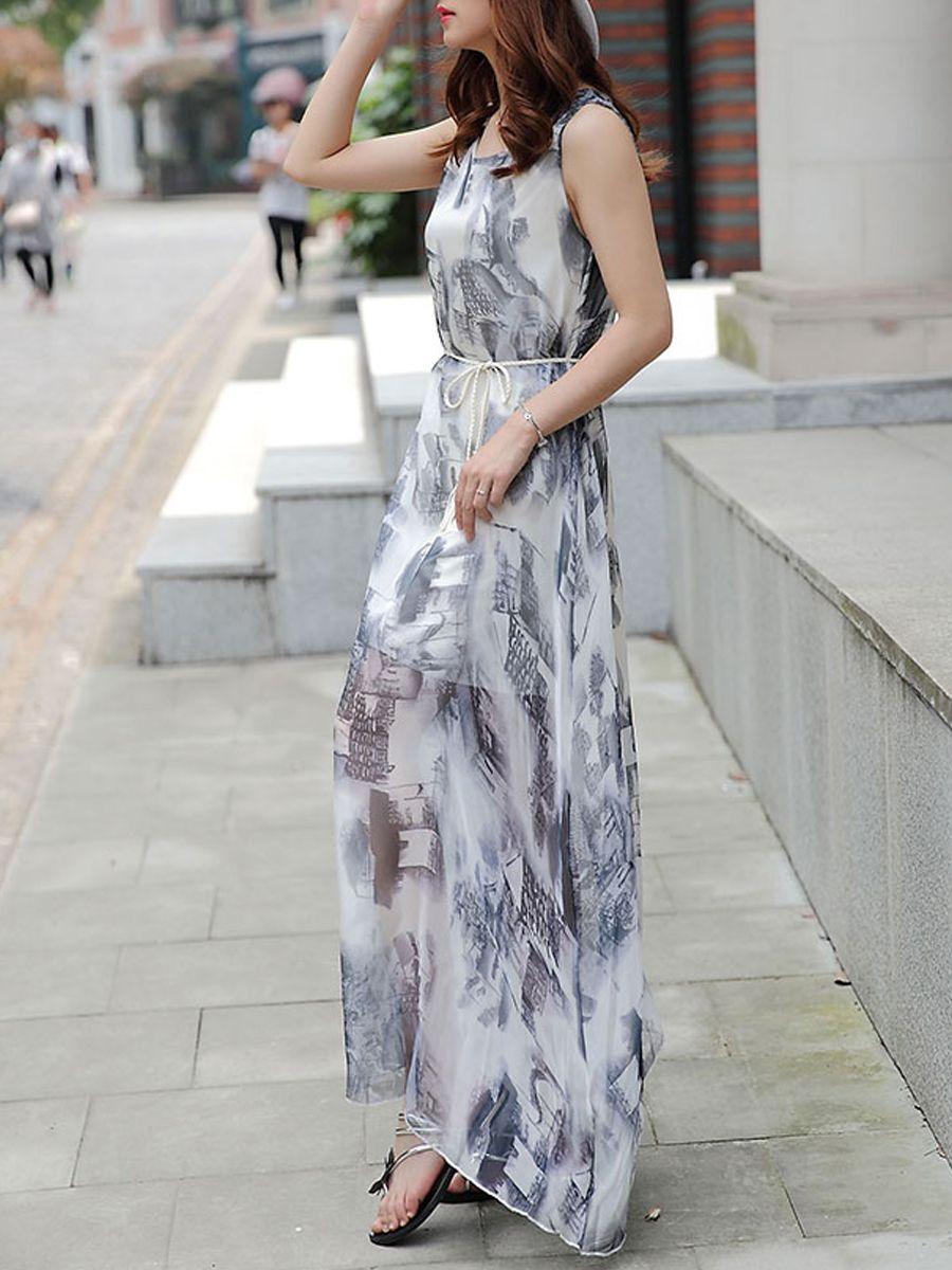 Round Neck Asymmetric Hem Belt Printed Maxi Dress-Berrylook #cheapmaxidresses #longmaxidresses