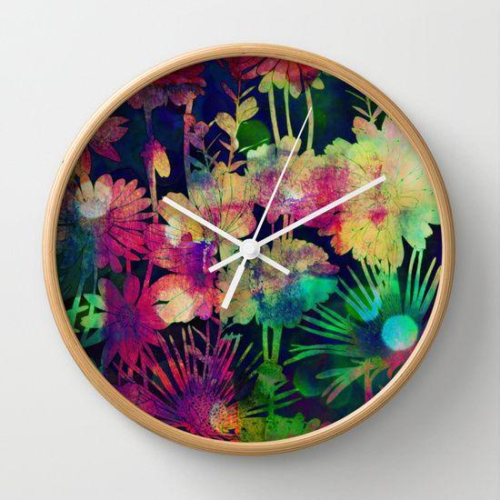 bright floral and bokeh Wall Clock