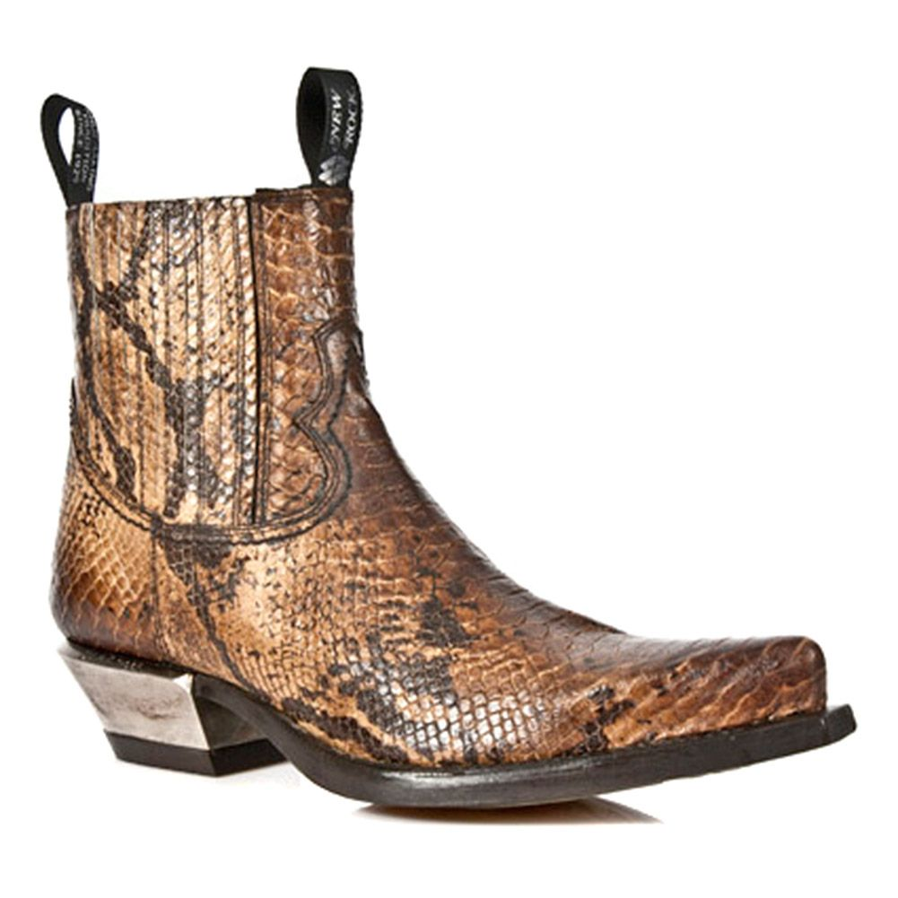 939f30ecbb8 New Rock M.7953-S7 Snakeskin West Ankle Boots (Brown) | Christmas ...