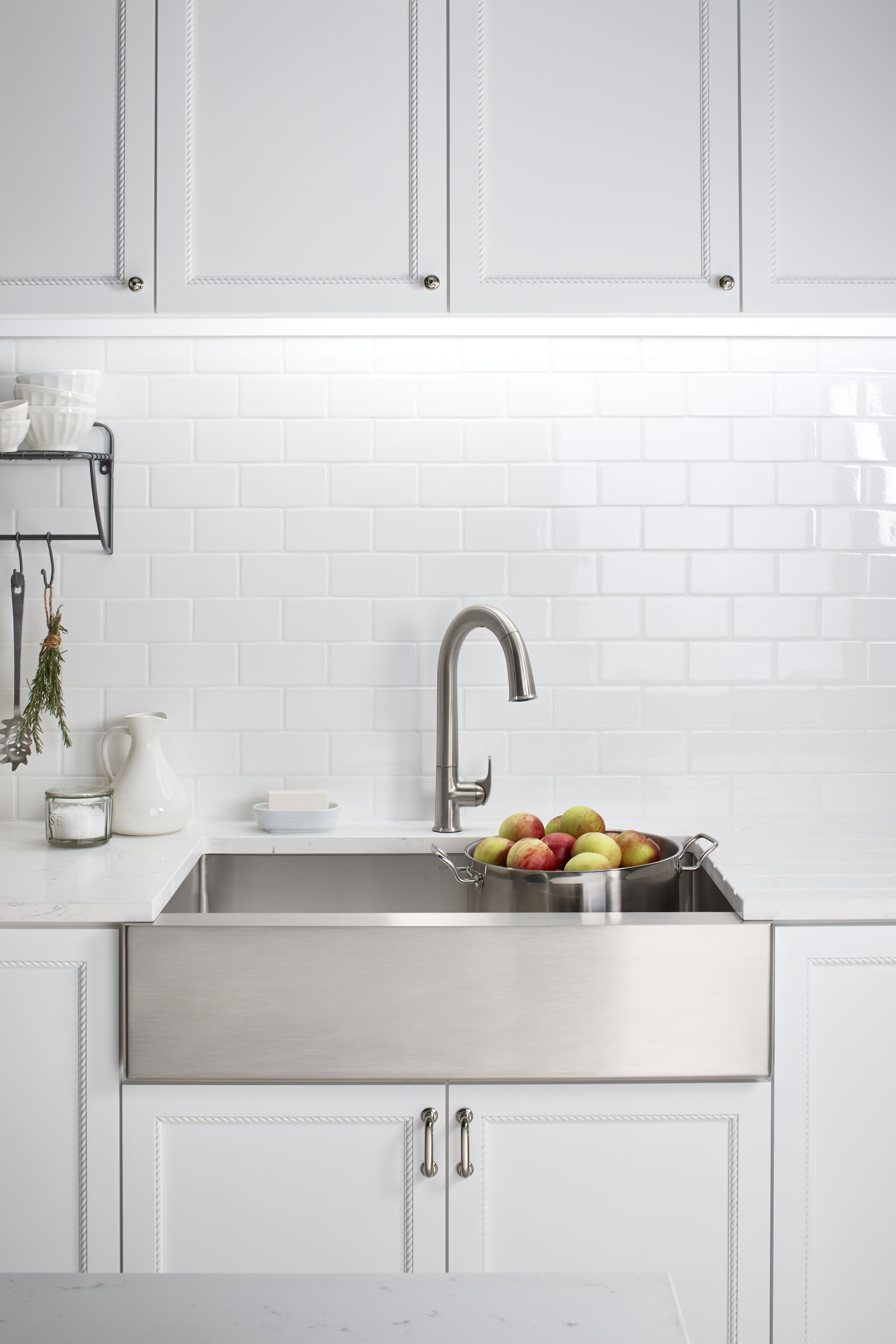 Beautiful Chrome Sink From Kohler In A White Modern Kitchen With Subway Tiles Corner Sink Kitchen Modern Kitchen Farmhouse Sink