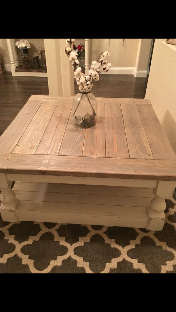 Large Square Rustic Baluster Wide Plank Coffee By Cmwoodwerks