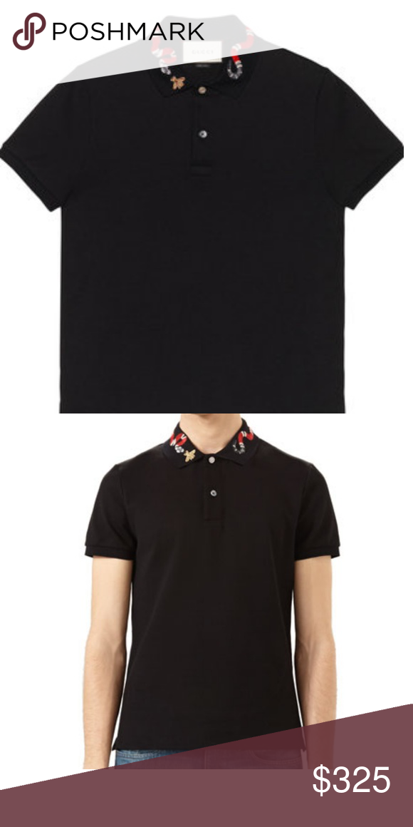 2bff1a5ad Black Gucci Polo Mens Gucci cotton polo Snake and bee embroidery on the  collar BRAND NEW and comes in Gucci plastic bag Gucci Shirts Polos