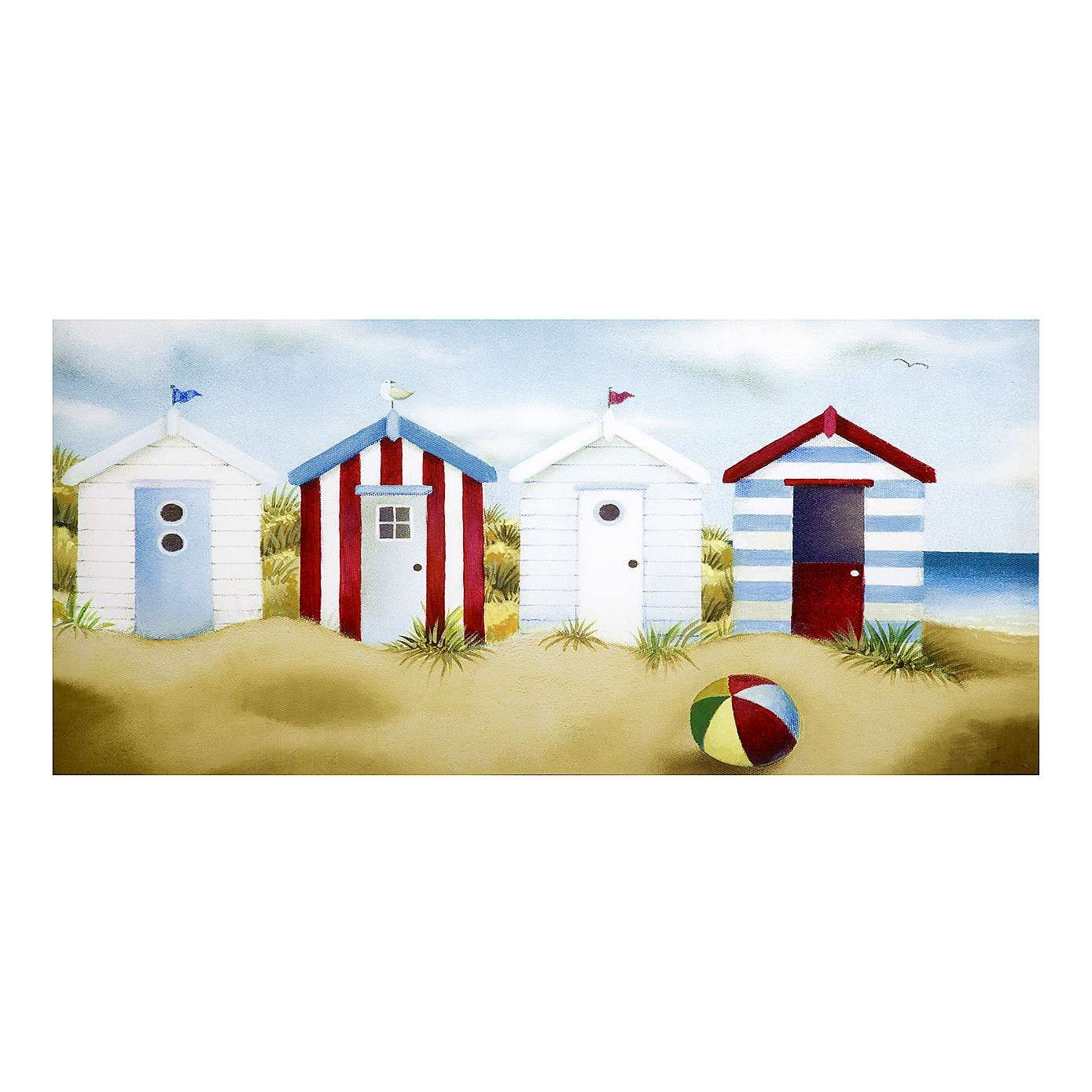 Beach Huts Printed Canvas | Dunelm | Wall art for the top floor ...