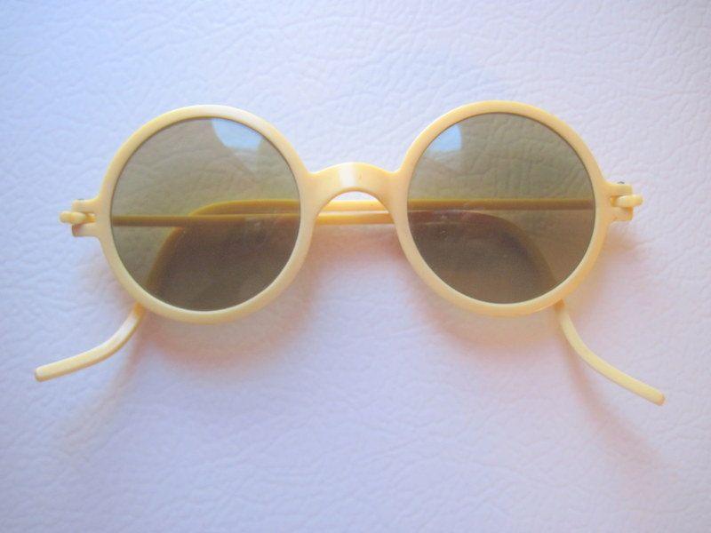 Rare 1930s,1940s Vintage, Cream colored Sunglasses, Womens Sunglasses, Round Rims, Celluloid glasses