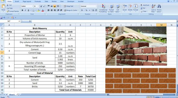 Download excel sheet to compute cement, sand and bricks in brick