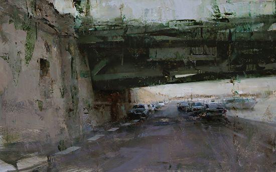"The Bridge by Tibor Nagy, Oil on wooden panel ~ 20"" x 32"""