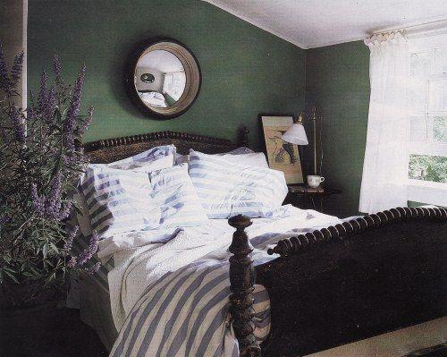 Green Bedroom Cottage Interior Design Wohnen Wandfarbe