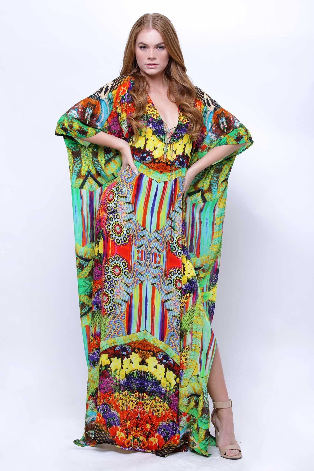 Floral vneckline long kaftan dress namorados pinterest