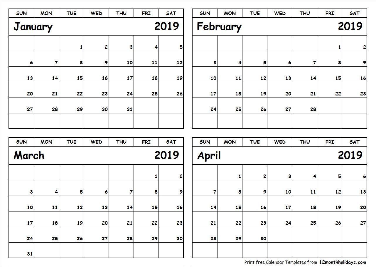 March April 2019 Printable Calendar Pdf Word Page Excel A4 Size
