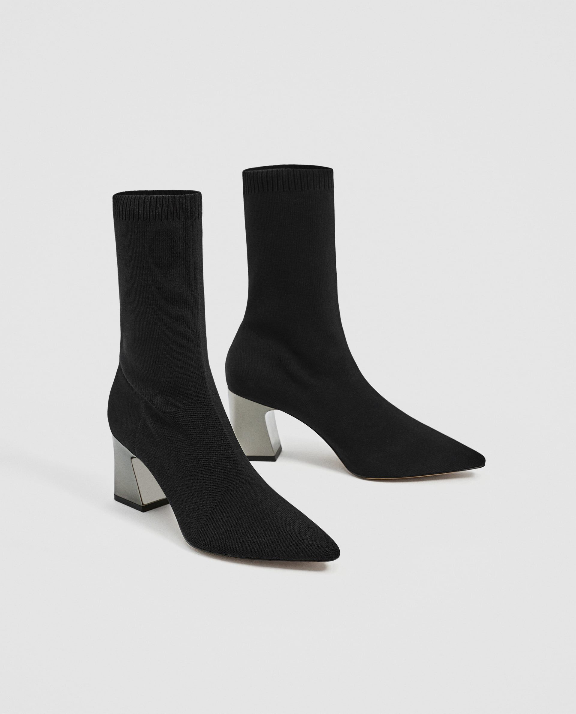 69b38757a6e STRETCH FABRIC HIGH HEEL ANKLE BOOTS
