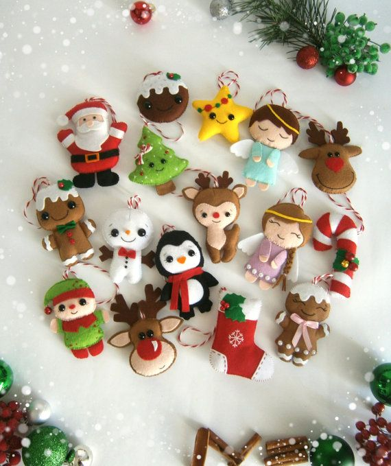 Christmas Ornaments Felt Set Of 16 Ornament Decor Cute Tree Reindeer Gingerbread Santa Más