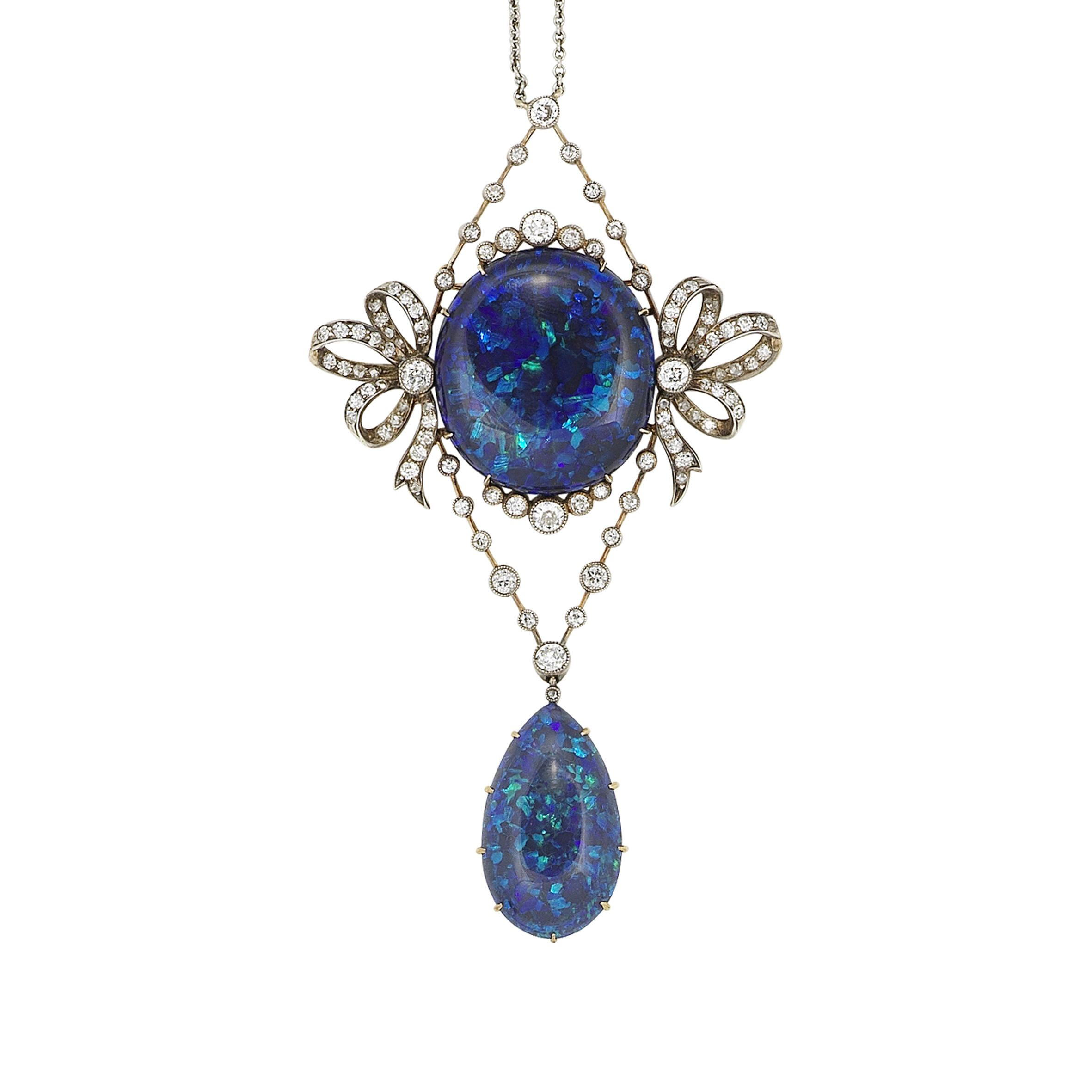 A belle époque black opal and diamond pendant necklace circa