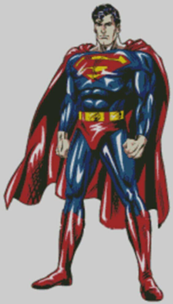 Super Hero Superman pattern Cross stitch chart Kryptonite. Clark Kent