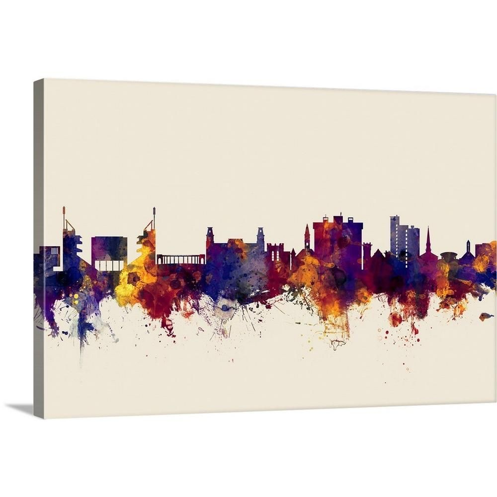 Greatbigcanvas Fayetteville Arkansas Skyline By Michael Tompsett Canvas Wall Art Multi Color Abstract Canvas Painting Abstract Canvas Watercolor Art Prints