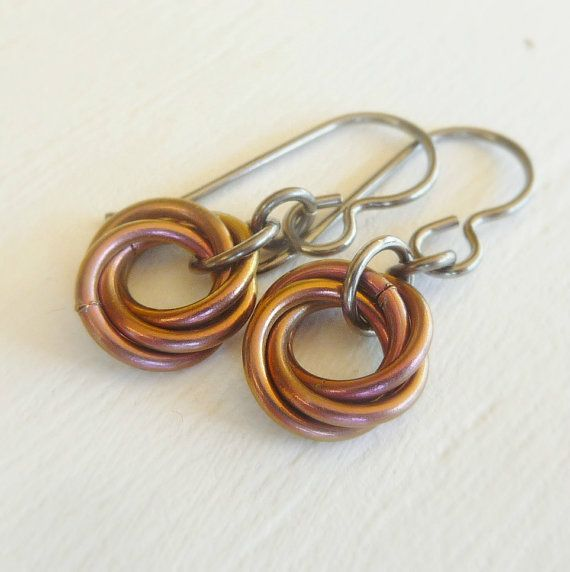 Allergy Safe Niobium Earrings Electric Salmon Mobius Hypoallergenic For Sensitive Ears Nickel Free