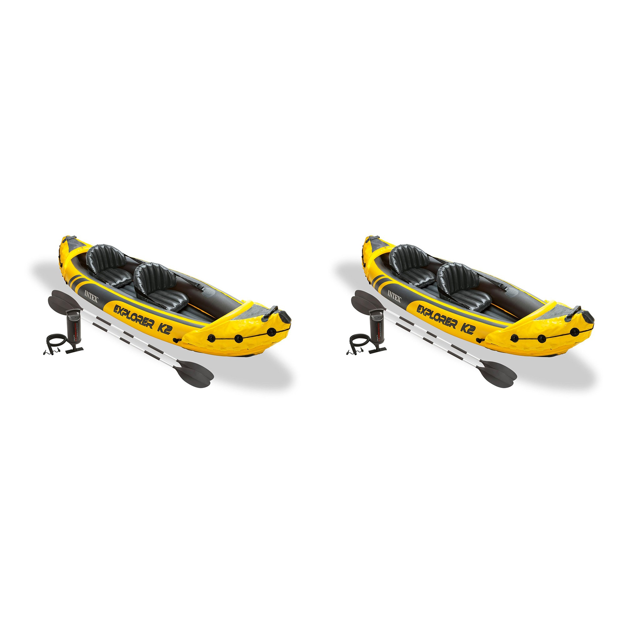Intex Explorer K2 Yellow 2 Person Inflatable Kayak With Oars Air