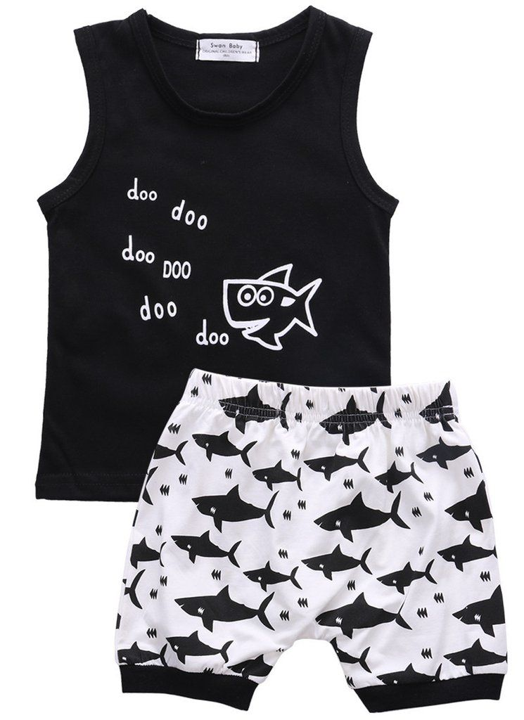 Kid Toddler Baby Boys Shark Summer Vest T Shirt Top Shorts Pants Outfits Clothes