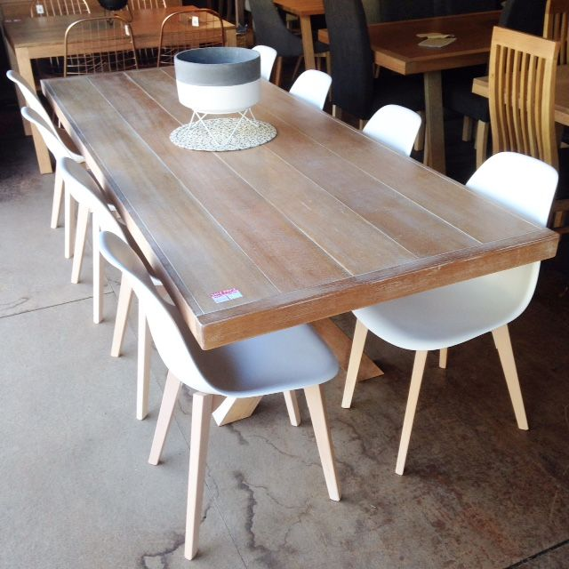 Beachwood Dining Table Pictured Here With 8 White Bucket Chairs And Chunky Cross Legs