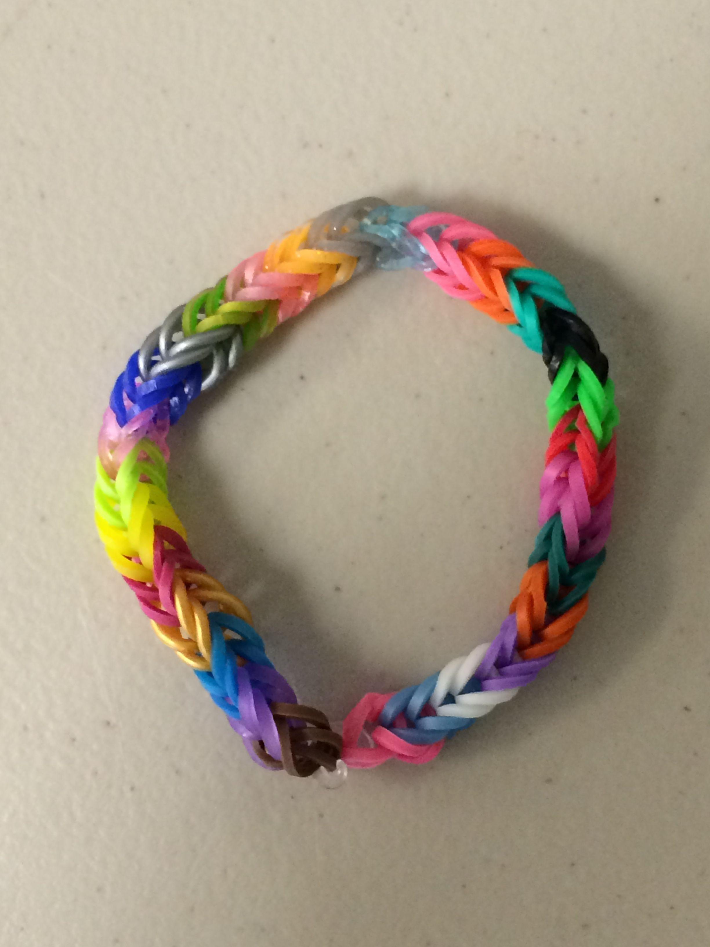 Rainbow Colors Dolphin Charm Rainbow Loom Fishtail Style Friendship Bracelet