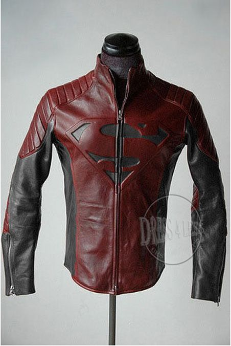 SUPERMAN MAN Of STEEL SMALLVILLE BLACK /& RED SHIELD LEATHER JACKET