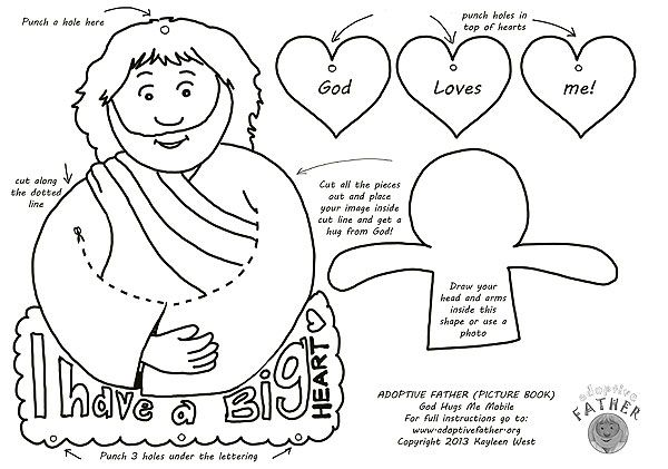 Free kid\'s activity sheet: Make a Jesus loves me mobile. Jesus hugs ...