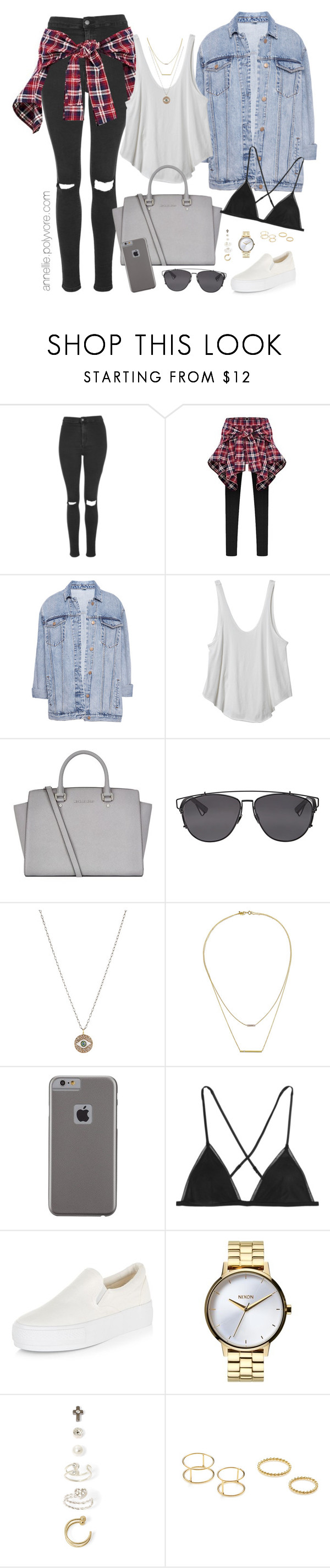 """""""Casual Street Chic"""" by annellie ❤ liked on Polyvore featuring Topshop, Pull&Bear, RVCA, MICHAEL Michael Kors, Christian Dior, Ileana Makri, Kacey K Fine Jewelry, Case-Mate, Kiki de Montparnasse and Nixon"""